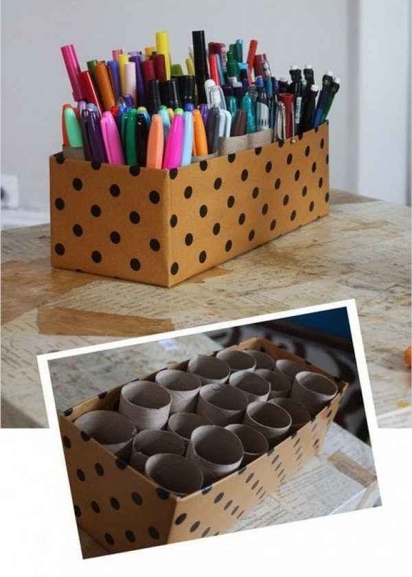 Make an organizer with shoe box and toilet paper tubes