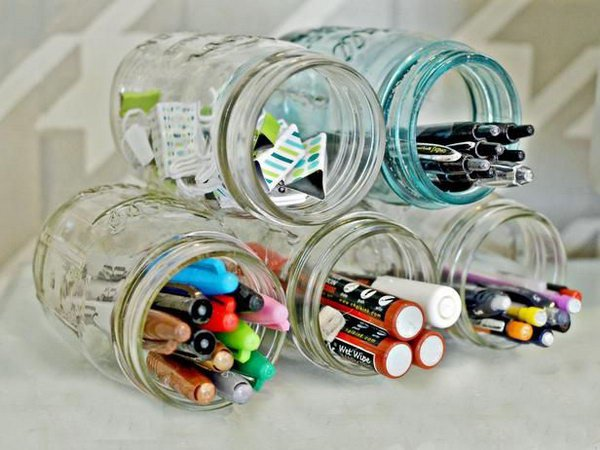 Mason Jar Organizer, source