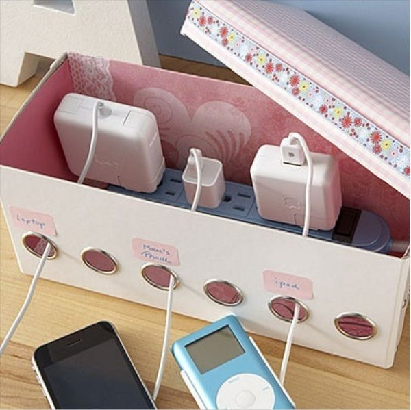 DIY Shoe Box Organizer for Power Strip