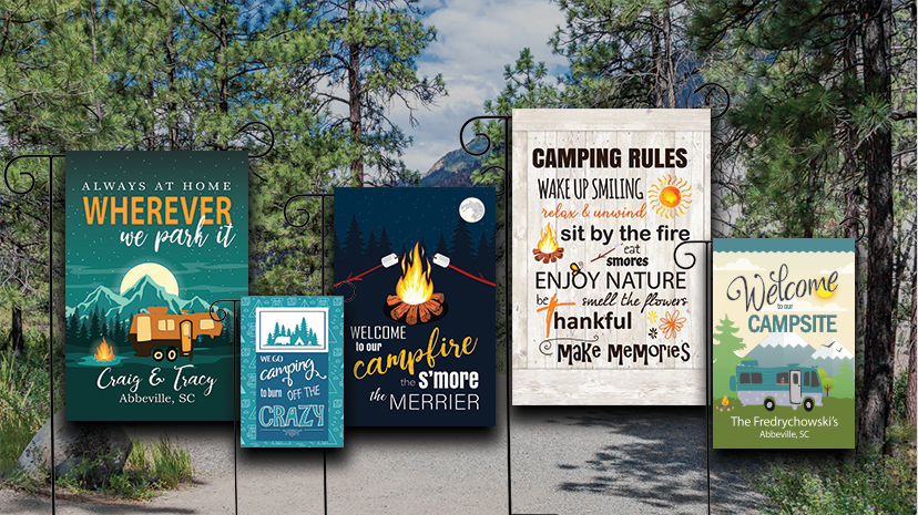 camping flags and campsite flags